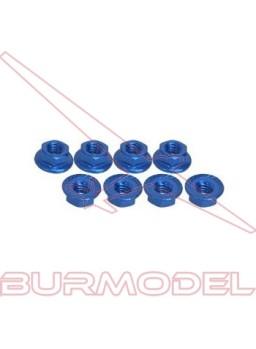 Tuerca autoblocante con pestaña M3 aluminio azul