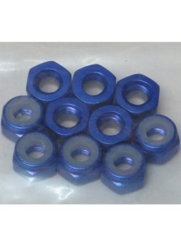 Tuerca autoblocante M3 aluminio azul