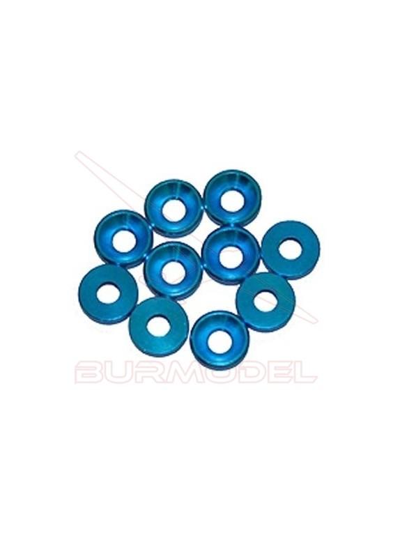 Arandela Aluminio Cónica M3 Azul (10u.)