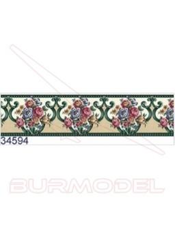 Cenefa flores verdes 44 cm