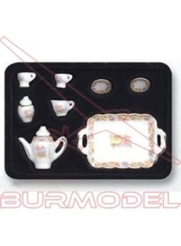 Juego de café porcelana 8 piezas