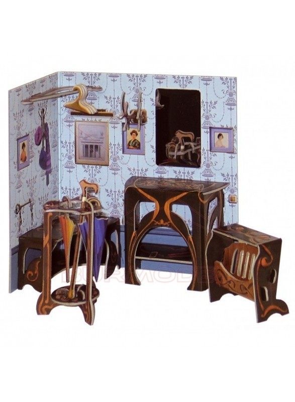 Maqueta papel vestíbulo casitas muñecas