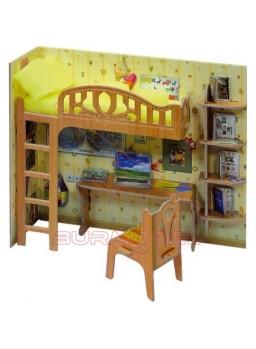 Maqueta papel escritorio escolar casitas muñecas
