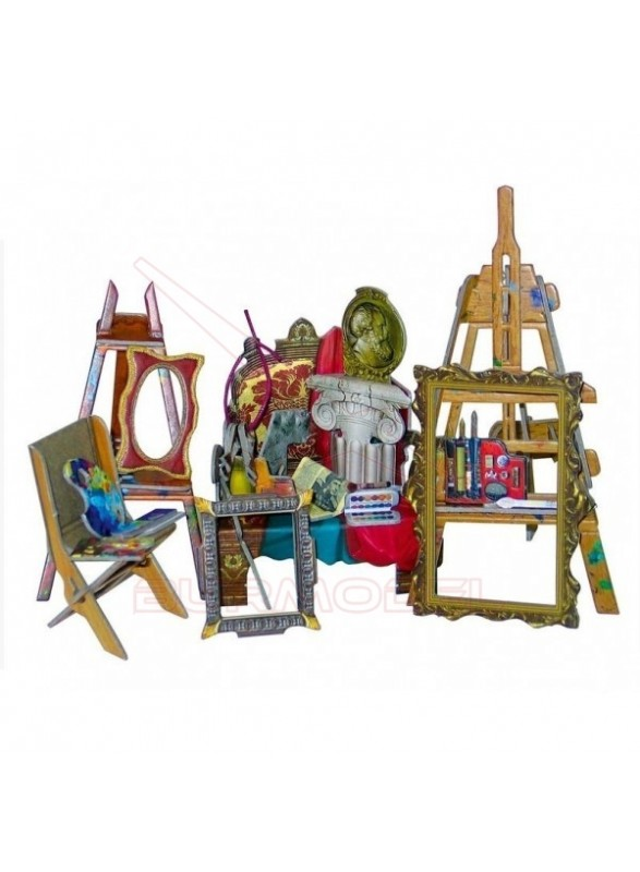 Maqueta papel sala de pintura casa de muñecas