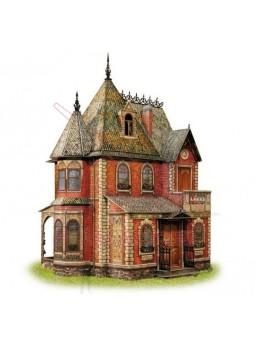 Maqueta papel casa de muñecas victoriana