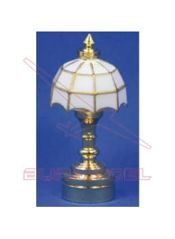 Lámpara de mesa tifanny color blanco. Led 1/12