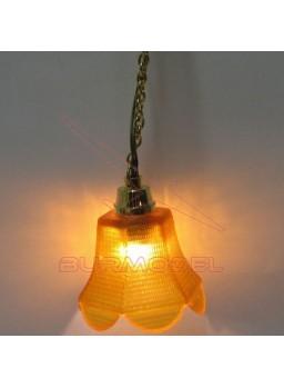 Lámpara con tulipa naranja. 1:12