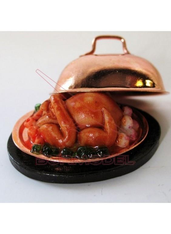 Bandeja con pollo horneado