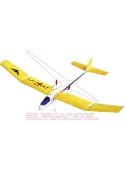 Avión Falcon rc color amarillo. 2,4 Ghz