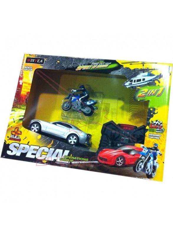 Conjunto coche rc y moto radio control