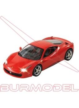Coche rc Ferrari 458 Italia escala 1/24 rojo.