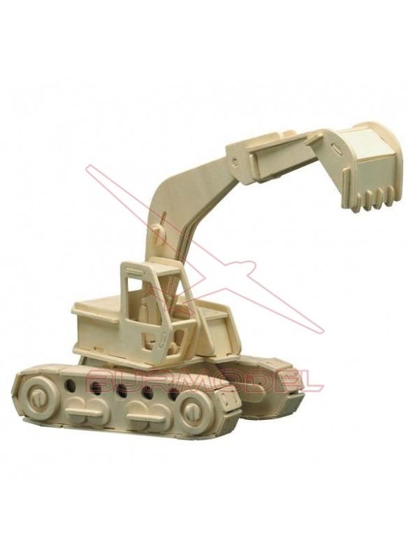 Maqueta madera para montar excavadora