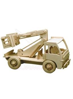 Maqueta de madera para construir un camión grúa