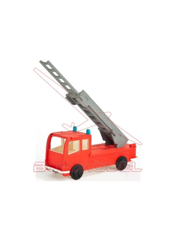 Maqueta camión bomberos en madera