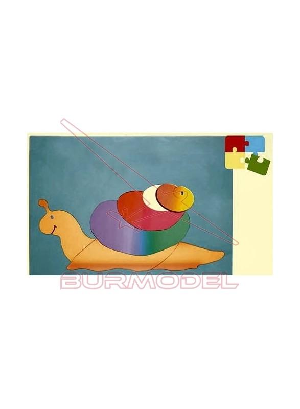 Puzzle para niños. Montaje de caracol en madera