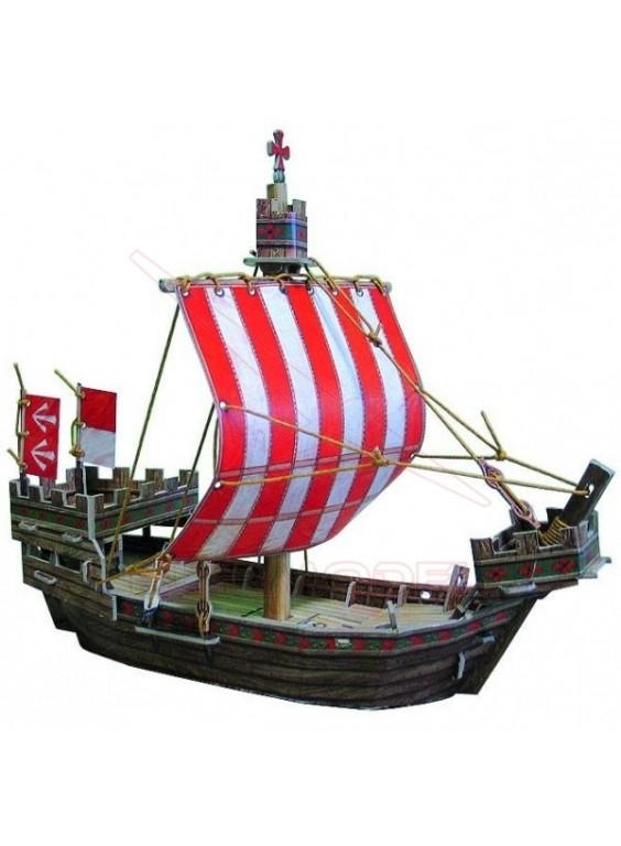 Maqueta papel barco medieval