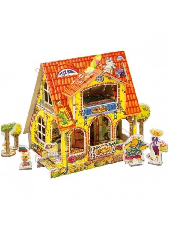 Casa de muñecas para montar en papel