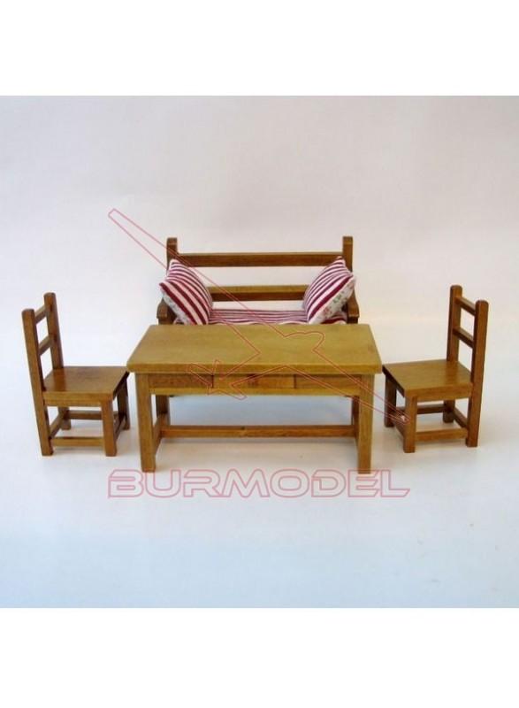 Mesa con banco y dos sillas