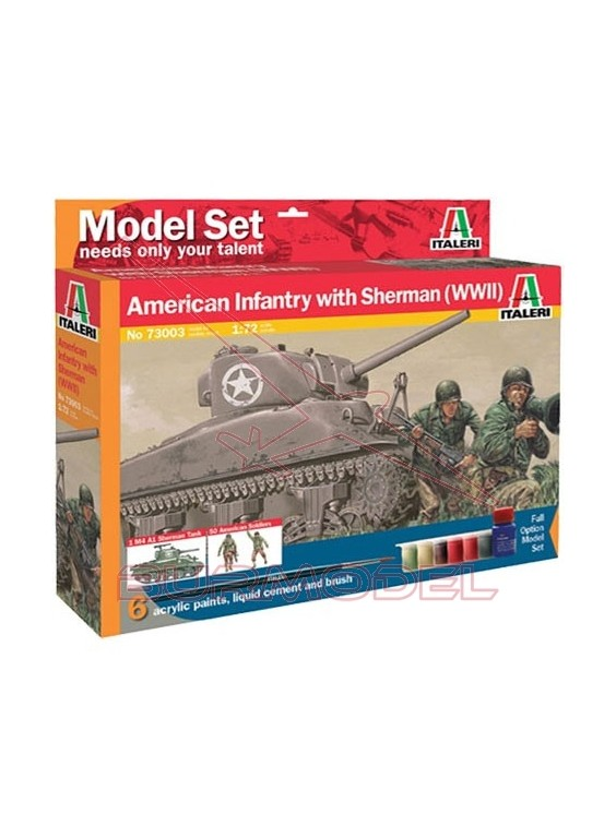 Model Set. Tanque M4 Sherman&US Infantry 1/72