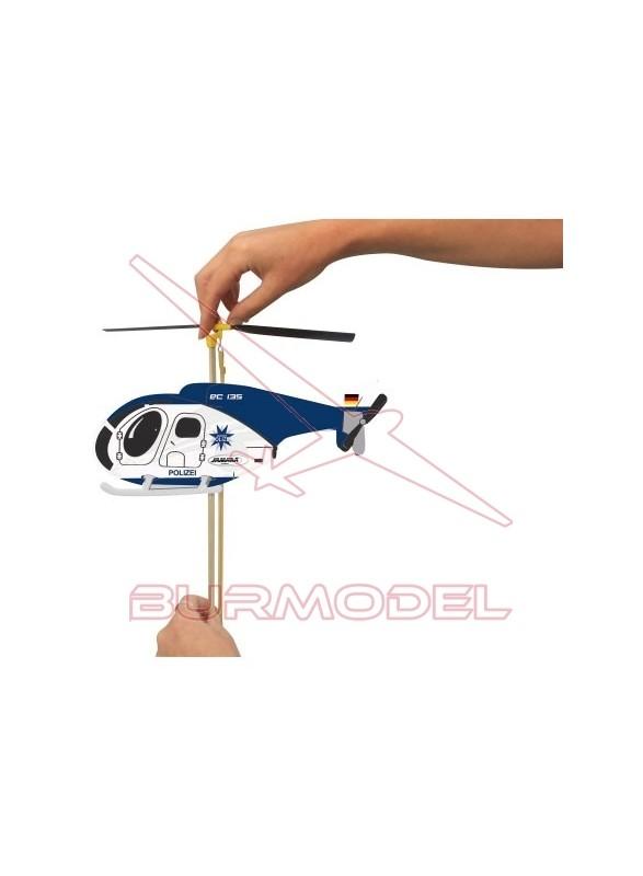 Helicóptero volador con goma elástica