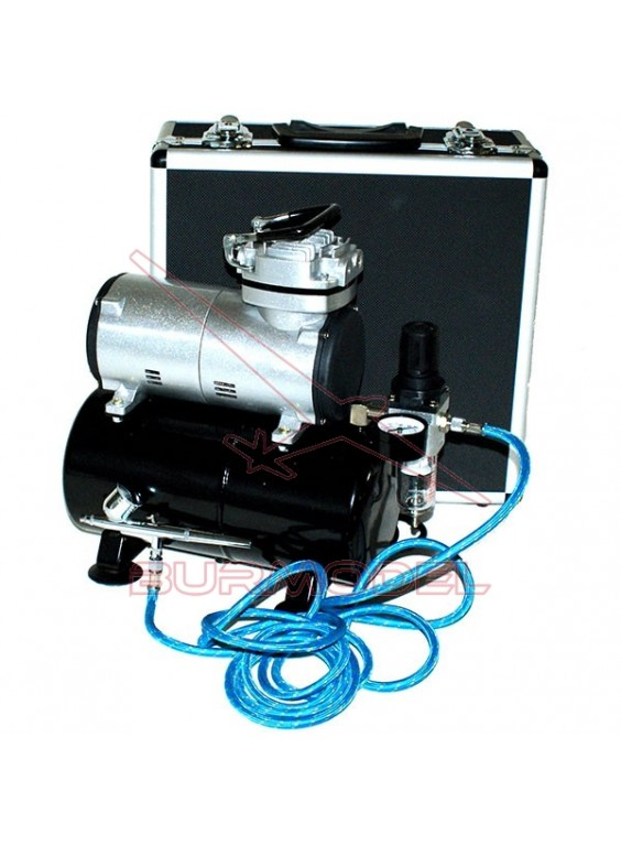 Conjunto aerógrafo más compresor con calderín