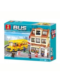 Kit infantil para montar autobús escolar y colegio
