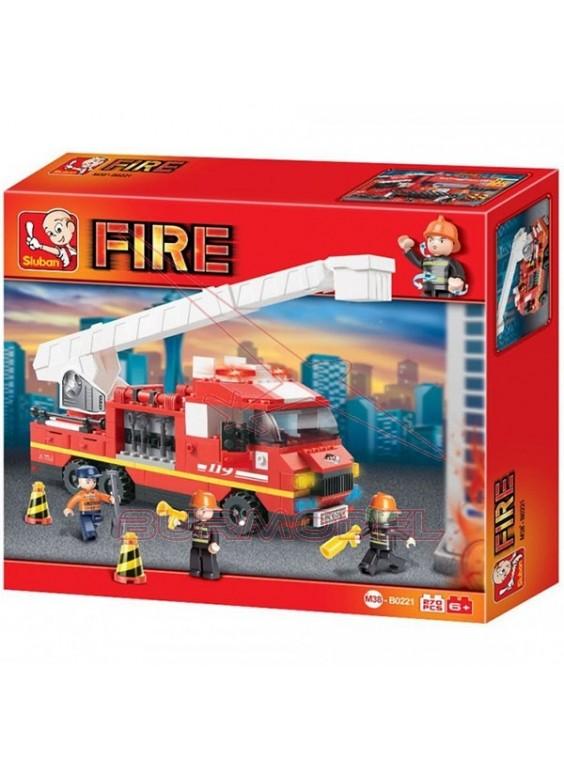Construcción Sluban para montar camión de bomberos