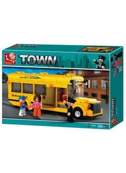 Construcción infantil autobús escolar amarillo