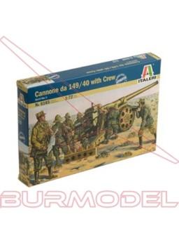 Maqueta cañón y 9 figuras II GM