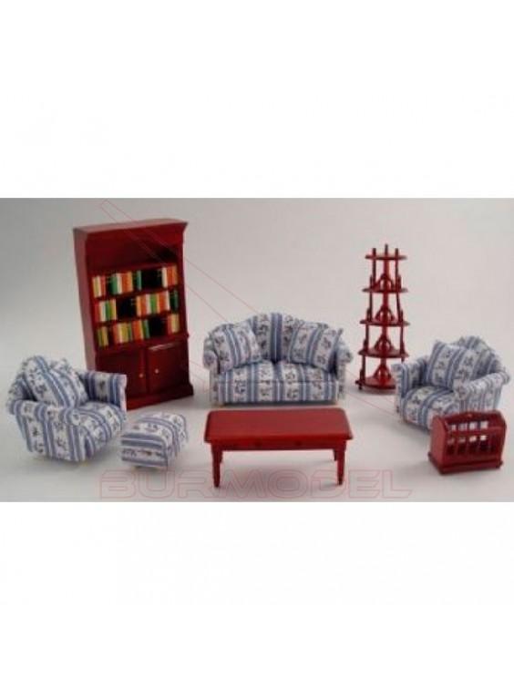 Juego salón azul con librería y revistero