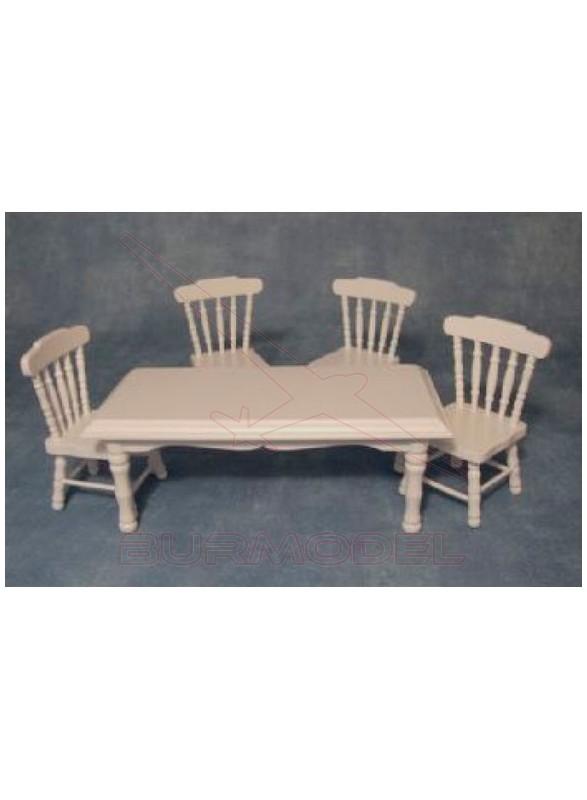 Mesa de cocina con sillas blancas
