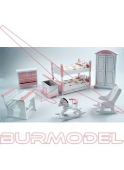 Habitación infantil con literas rosa