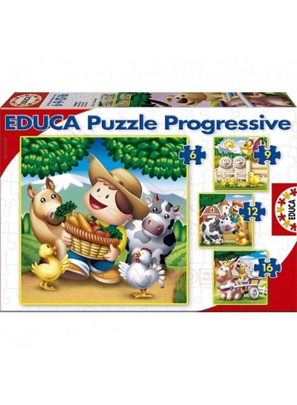 Puzzles infantiles 6, 9, 12 y 16 piezas de animales