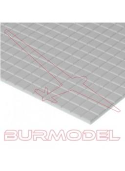 Plancha estireno 30x15 con cuadrados de 3,2mm