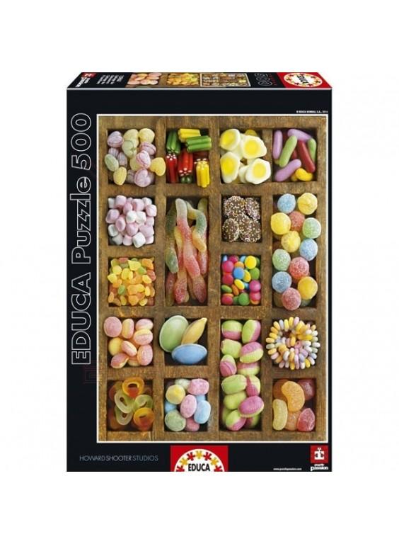 Puzzle 500 piezas collage de golosinas