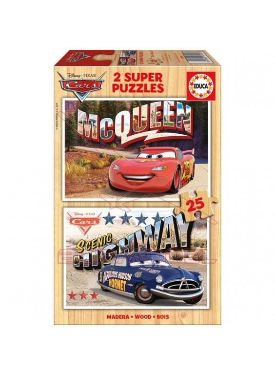 Puzzles 25 piezas de madera Cars 2 en 1