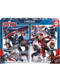 Puzzle 2x500 piezas Captain America: civil war