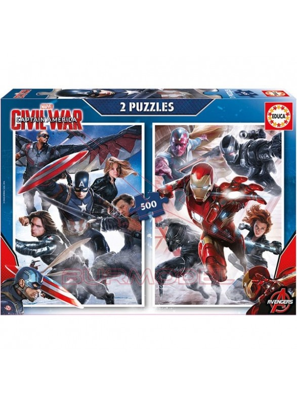 Puzzle 2x500 piezas captain America: civil war