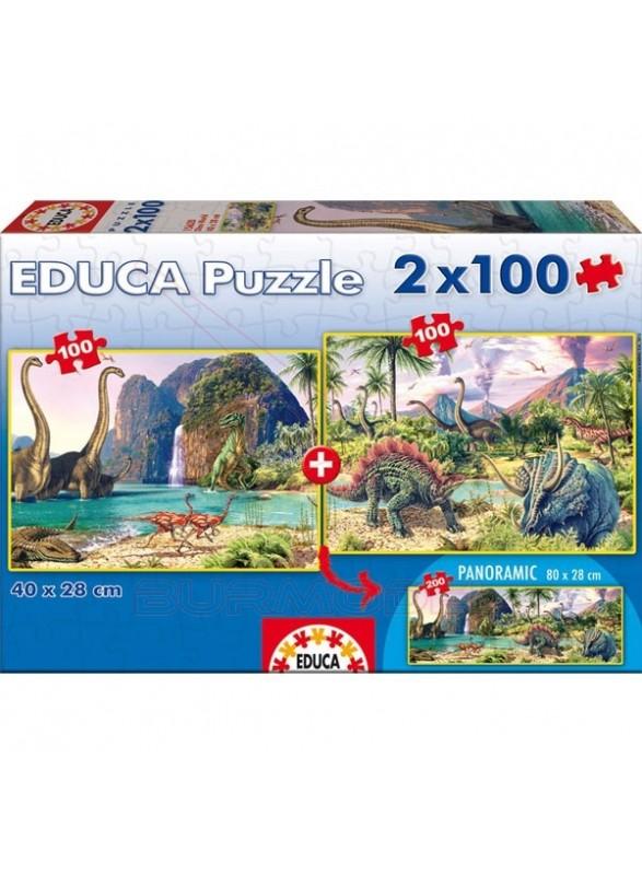 Puzzle 2x100 piezas dino world