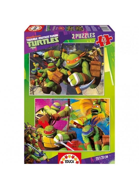 Puzzle 2x48 piezas Tortugas Ninja