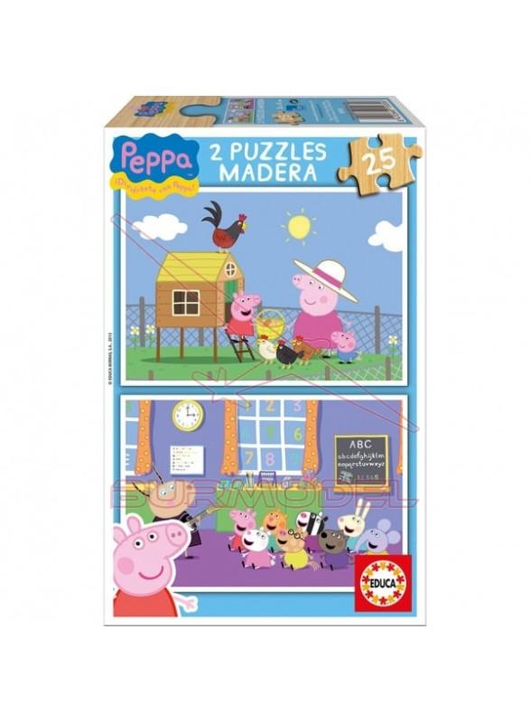Puzzle 2x25 piezas peppa pig