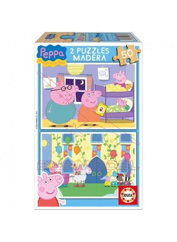Puzzle 2x50 piezas peppa pig
