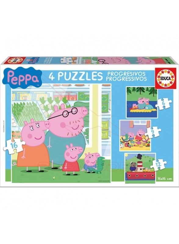 Puzzle progresivos peppa pig 6-9-12-16 piezas
