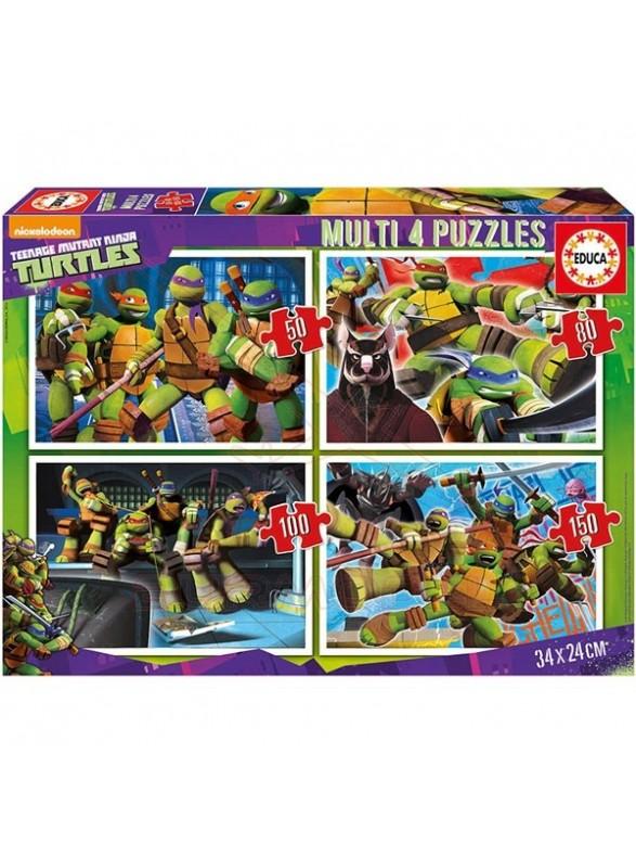 Puzzle multi 4 50-80-100-150 piezas tortugas ninja