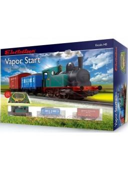 Circuito de modelismo ferroviario HO con locomotora de vapor
