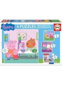 Puzzle progresivos Peppa Pig 12-16-20-25 piezas