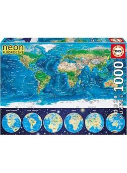 Puzzle 1000 piezas Mapamundi físico Neón