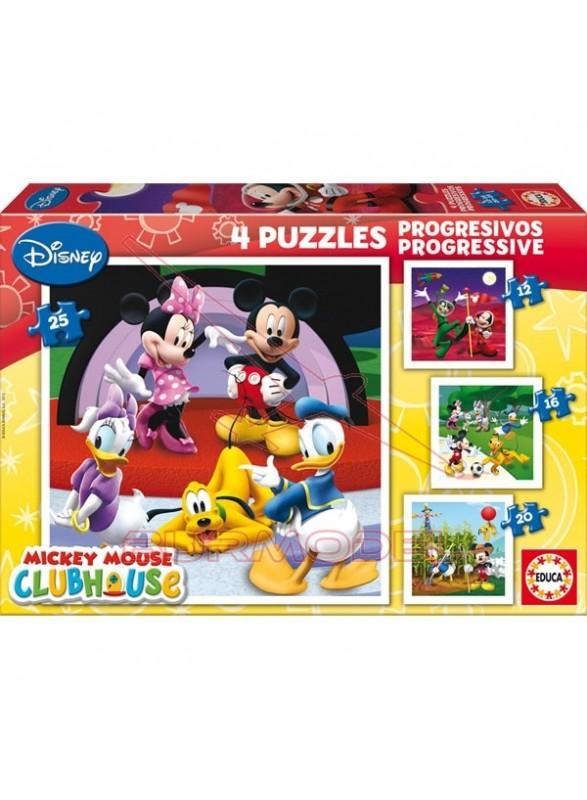 Puzzle progresivos mickey mouse 12-16-20-25