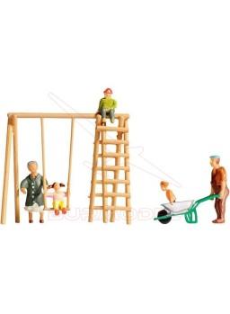 Figuras niños y abuelos en los columpios 1/87