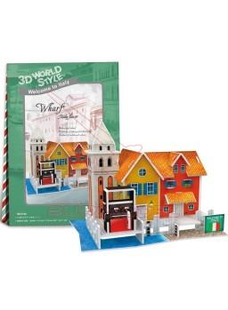 Puzzle 3D Casa italiana con muelle 19 piezas